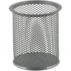 $Подставка для ручек круглая, металлическая, серебристая