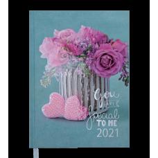 /Щоденник датований 2021 ROMANTIC, A5, 336 арк., бірюзовий