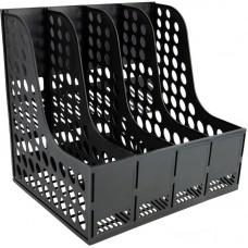 Лоток вертикальний збірний на 4 відділення, чорний