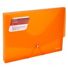 Папка на гумках об'ємна, А4, прозора помаранч